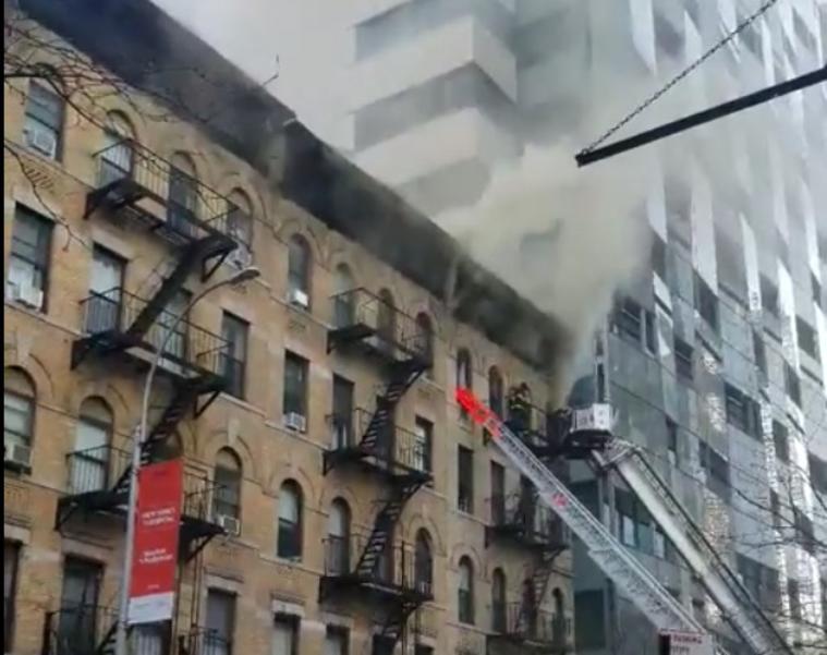 Burning NYC Building