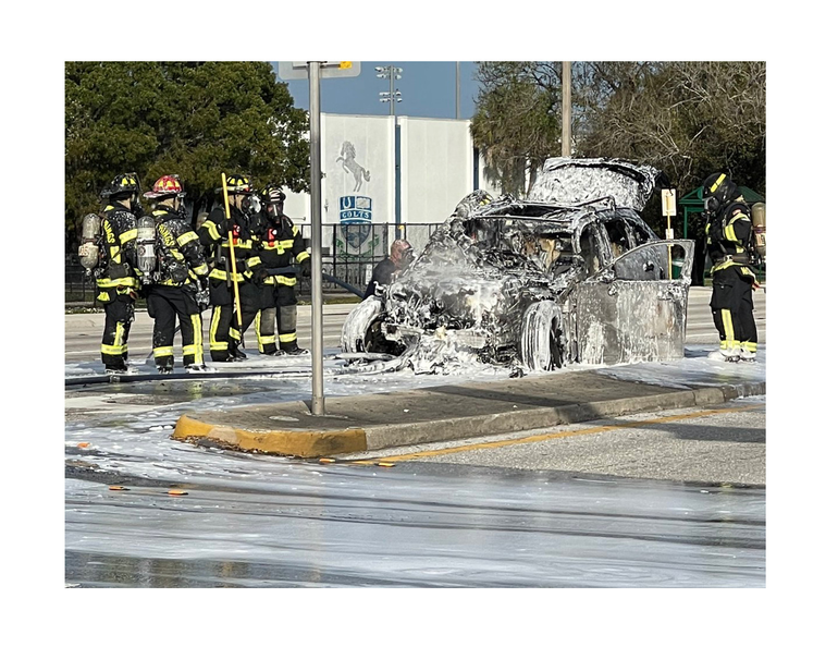 What remained of a luxury SUV burned in a vehicle fire in Coral Springs.