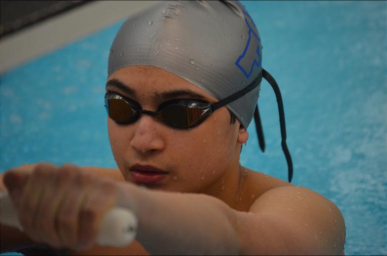 Scotch Plains-Fanwood's Aidan Trenery prepares to swim in the 100 Backstroke.