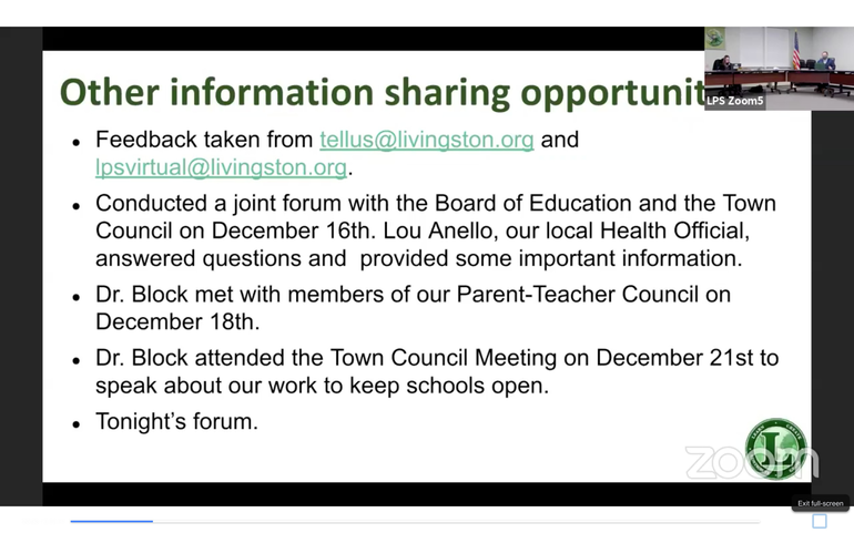 Livingston BOE Relies on Community Input to Prepare for New Hybrid Schedules