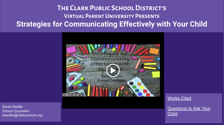 """Clark Public School District Shares  Virtual Parent University Session  """"Strategies for Communicating Effectively with Your Child"""""""