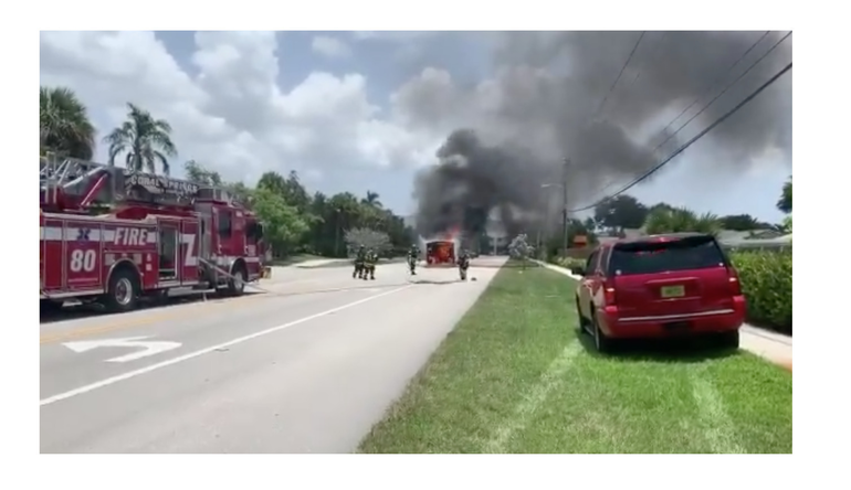 Coral Springs Firefighters Close Off Street To Put Out Vehicle Fire