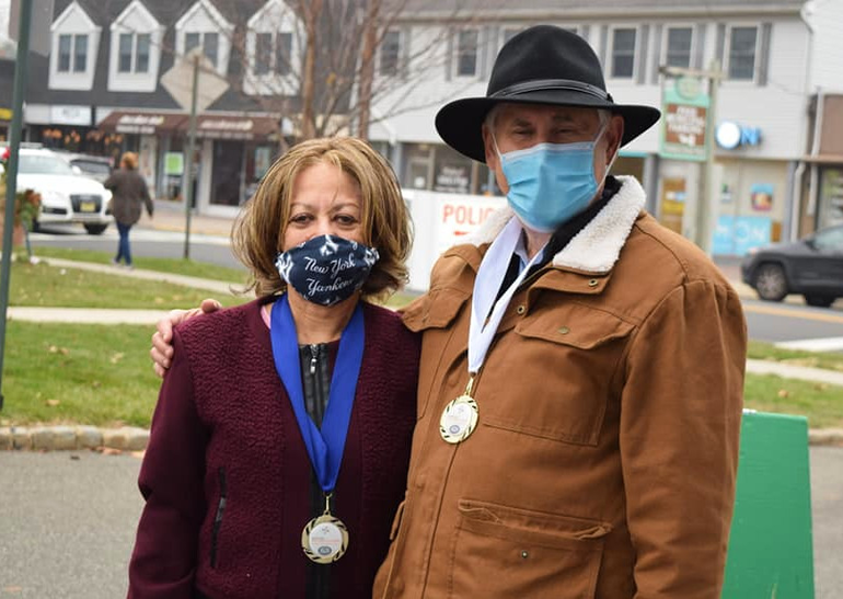 Scotch Plains Mayor Al Smith Hands Out Mayor's Wellness Medals