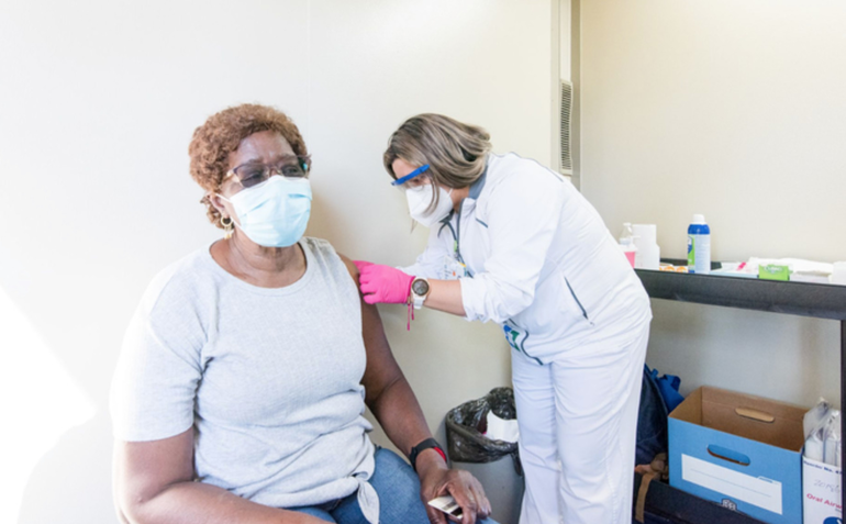 Resident getting vaccinated at Lions Park on Riverside Drive in Coral Springs