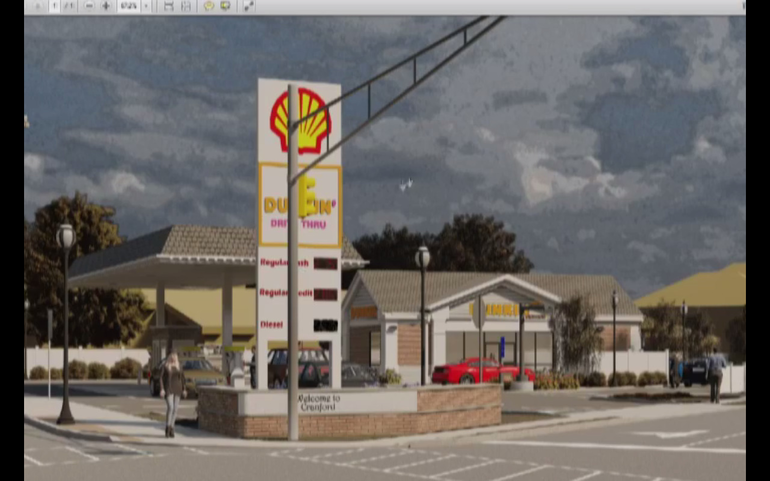 Proposed South Ave. Dunkin' drive-thru and gas station.