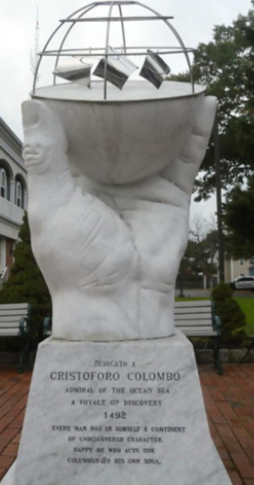 Columbus monument outside the Scotch Plains Municipal Building