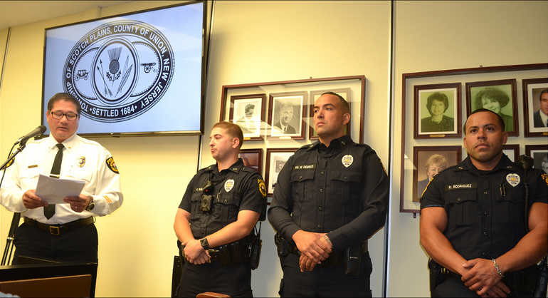 Scotch Plains Police Chief Ted Conley introduces new officers at the Council meeting on Tuesday evening.