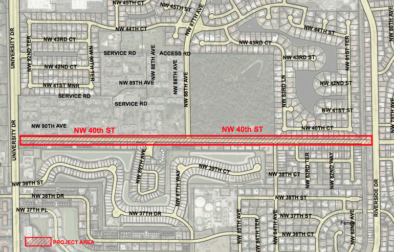NW 40th Street/Cardinal Road from University Drive to Riverside Drive would get road and other improvements