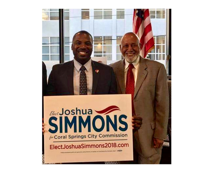 Coral Springs Vice Mayor Joshua A. Simmons, left, with late U.S. Rep. Alcee Hastings in 2017.