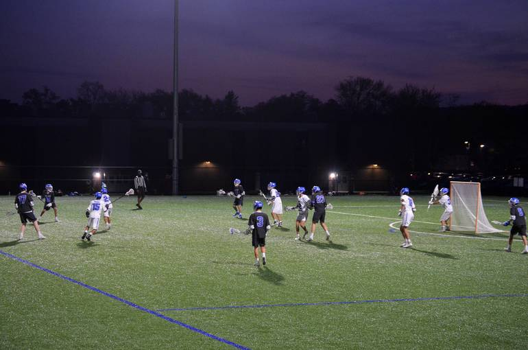 Scotch Plains Fanwood Lacrosse plays under the lights for the first time ever at home.
