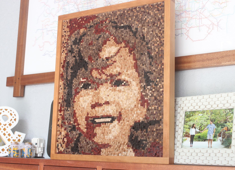 Coral Springs Woodworker Creates 7,680-Piece Mosaic Portrait of His Daughter