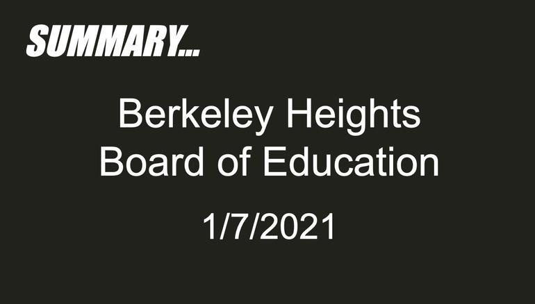 Student Representative Report: Board of Education Meeting January 7, 2021