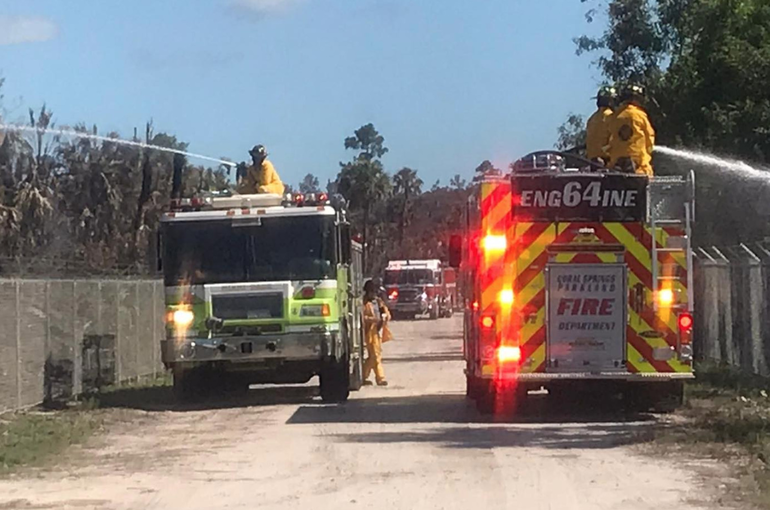 Coral Springs Firefighters Helped Battle Brush Fires in Collier