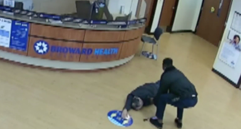 Video footage capturing the moment Igor Molina collapsed in the lobby of Broward Health Coral Springs.