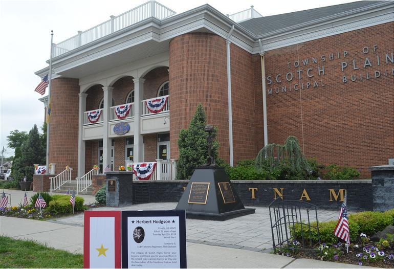 Scotch Plains Municipal Building on Memorial Day 2020