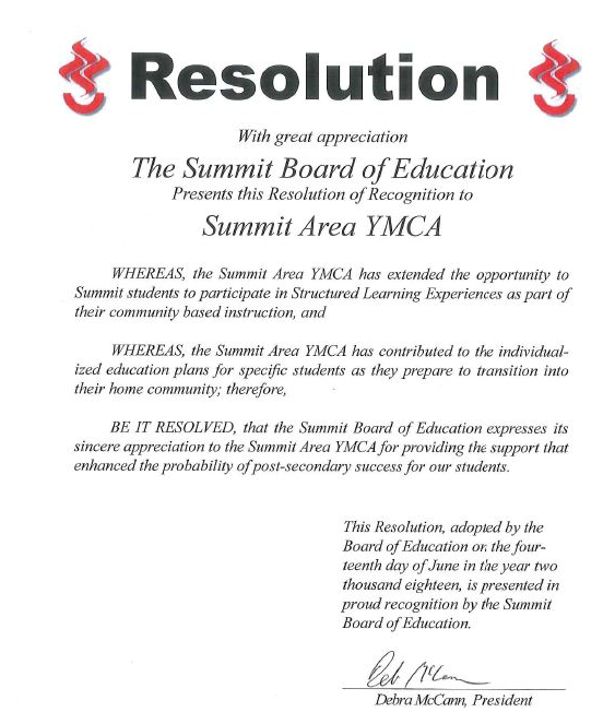 Summit Area YMCA Receives Resolution Of Recognition from Summit Board of Education