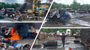 Old Tanker Truck Erupts in Flames in Wayne