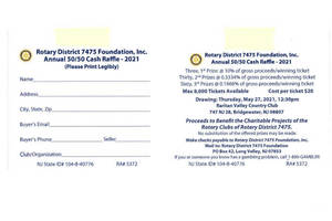 West Orange Rotary Partnering in 50/50 Raffle with Great Cash Prizes