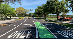 Recently added bike lanes on Rock Island Road in Coral Springs.