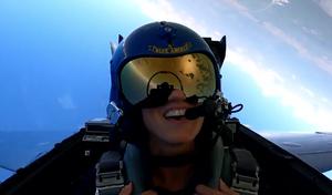 Marjory Stoneman Douglas High School Principal Michelle Kefford in a U.S. Navy Blue Angels jet.