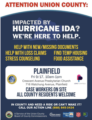 Next Pop-Up County Event to Provide Help to Residents Affected by Ida in Plainfield