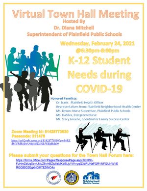 Plainfield Public Schools Virtual Town Hall on Feb. 24: K-12 Student Needs during COVID-19