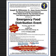 Emergency Food Distribution Event on Thursday, April 29th at Colgate Park in West Orange