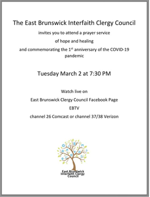 East Brunswick Interfaith Clergy: Prayers after a Year of COVID-19