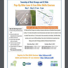 Pop-Up Bike Lane May 1 and  2 at  Redwood Elementary School and Woodland Avenue