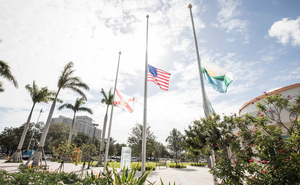 Flags lowered at half-staff at Coral Springs City Hall.