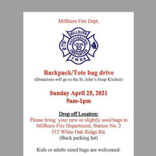 Millburn Fire Department Collecting New & Gently Used Backpacks Sunday (today) 9:00 am to 1:00 pm