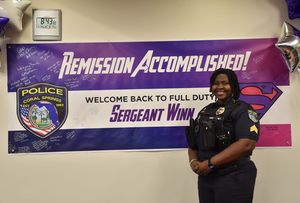 Coral Springs police Sgt. Ebony Winn on her first day back to full-time duties.