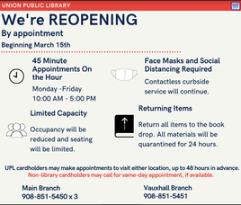 Union Public Library Reopens!  Reservations Required
