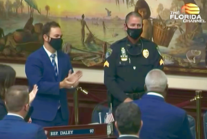 Coral Springs Police Sgt. Jeff Heinrich recognized on the floor of the Florida House of Representatives.