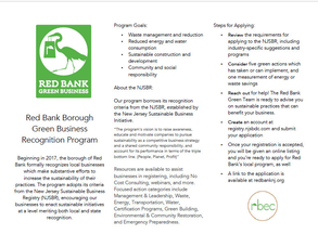 Red Bank Green Business Recognition Program – Apply Now