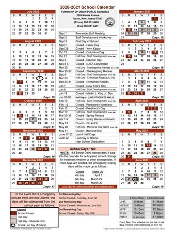 Montclair State University Calendar 2022.Union 2020 2021 School Calendar Released First Day Sept 3 Tapinto