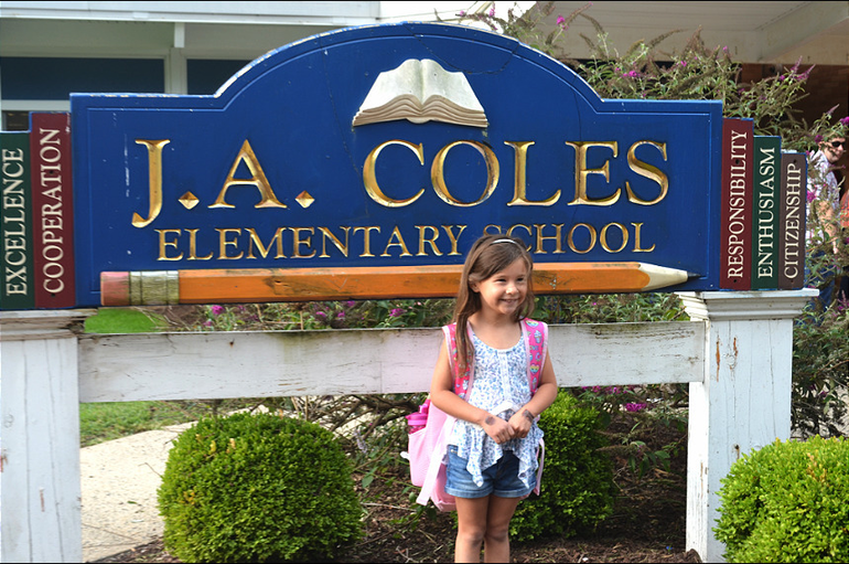 Scenes from the first day at Coles School in Scotch Plains-Fanwood.