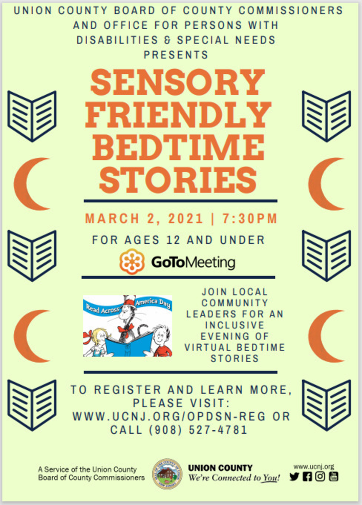 Union County Celebrates Read Across America With A Sensory Friendly Bedtime Story, March 2