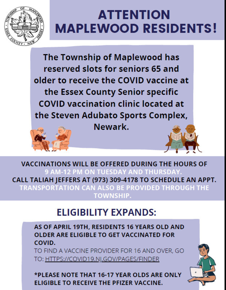 Maplewood Has Dedicated Senior Vaccine Appointments Available