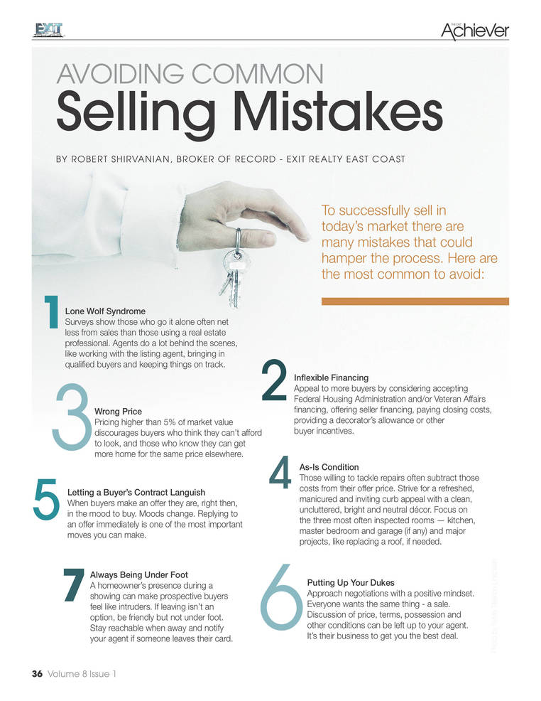 "Always looking out for the customer: EXIT Realty East Coast Shares, ""Don't make any of the 10 Biggest Real Estate Selling Mistakes"""
