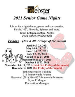 Webster City Offering Senior Game Night Beginning Friday April 9