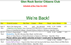 Glen Rock Seniors Are Back! Sign-Up for One of Four Upcoming Trips