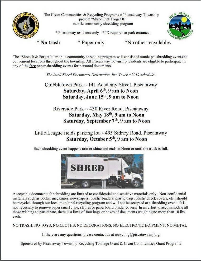Free Paper Shredding Event for Piscataway Residents Sept  7