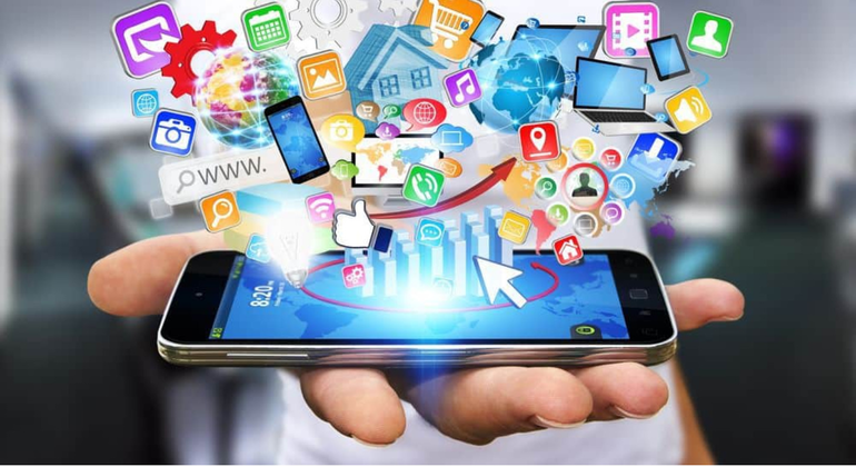 Shutterstock Mobile Browsing  images emanating from a smart phone.PNG