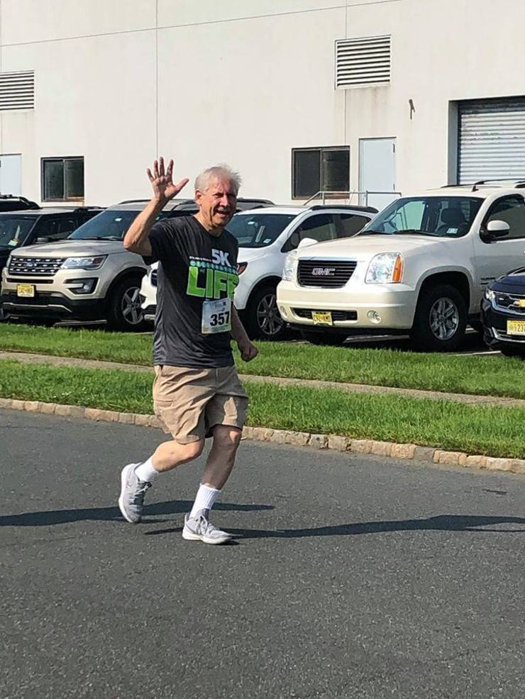 Scotch Plains Mayor Al Smith runs in the NJ Sharing Network 5K.