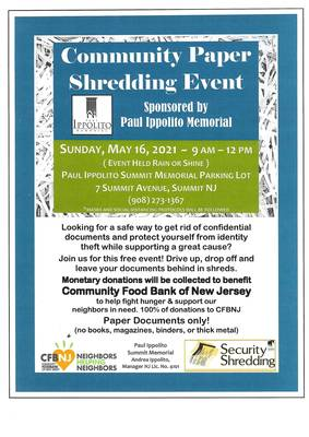 Free Community Paper Shredding Event in Summit May 16