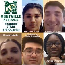 Five MTHS seniors named ShopRite STARS: Keshvi Damani, Academics; Thomas LaScala, Athletics; Hannah Mikelis, Arts; Christopher Mejia-Gonzales, Community Service; and Ja'Lisa Williams, Leadership.