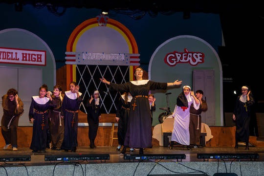 Top story 46bf2cca3cb61ecac3d0 sister mary hubert  played by anna souls  leads a musical number