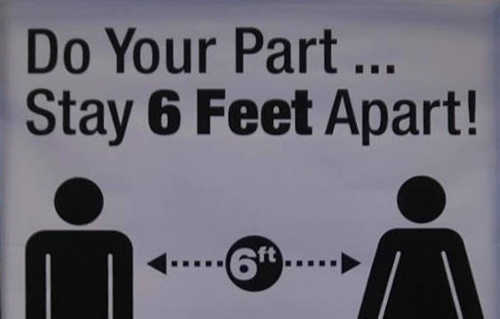 Top story ddefb6a47767ac707006 sign reminding shoppers to keep 6 feet apart during covid 19 pandemic  shop rite  montgomery  ny