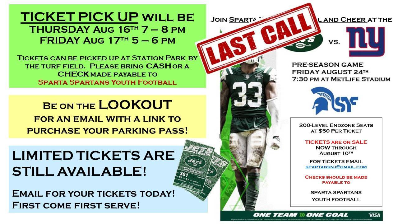 Last Call for Jets v Giants Tickets with Sparta Spartan Youth Football and Cheer